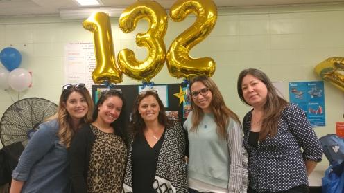 L to R: Mrs. Plouffe, Ms. Santiago, Assistant Principal Mrs. Mogielnicki, Mrs. Morodokhin, & Mrs. de Koning Foley